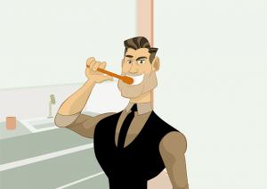 Mies pesee hampaat